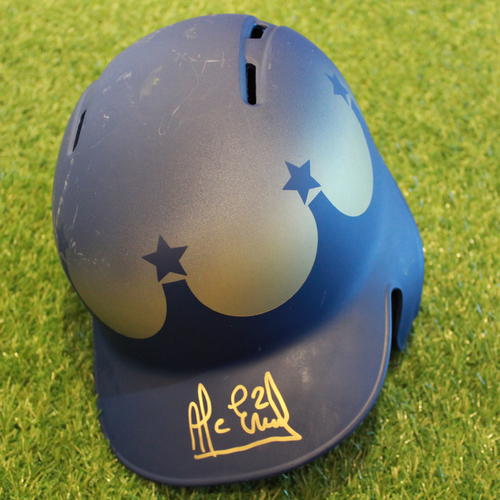 Game-Used and Autographed Turn Ahead the Clock Batting Helmet: Alcides Escobar (Innings 4, 6, 8 - Size 7 3/8 - KC @ SEA - 6/30/18)