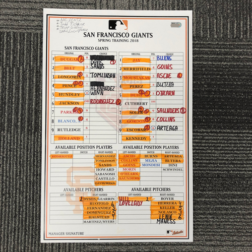 Photo of 2018 Spring Training Team-Issued Line Up Card - 3/23/18 vs. Kansas City Royals