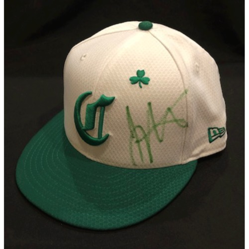 Photo of Joey Votto -- Autographed & Game-Used Cap -- 2019 St. Patrick's Day