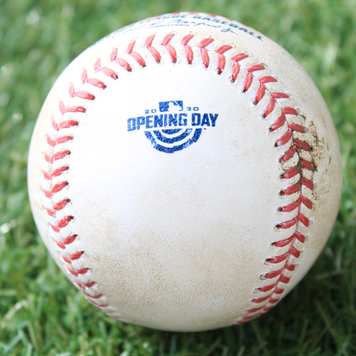 Photo of Game-Used Opening Day Baseball: Batter - McCann, Pitcher - Bubic (Debut), HBP, Top 2 (7/31/20 CWS @ KC)