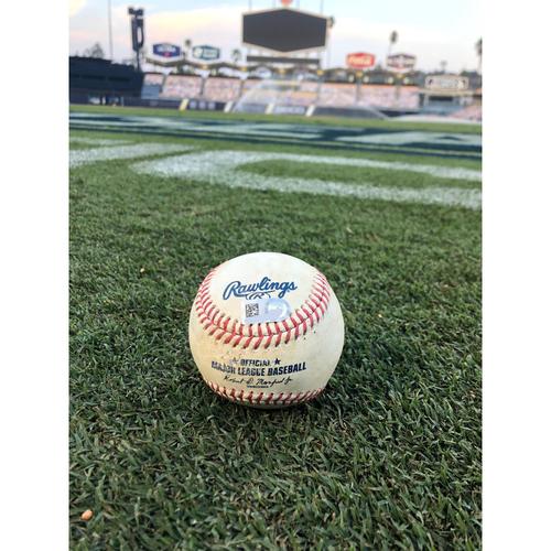 Photo of Game-Used Baseball: 2020 ALDS - Houston Astros vs. Oakland Athletics - Game 1 - Pitcher: Jake Diekman, Batter: Michael Brantley (RBI Single, Altuve scores) - Top 6
