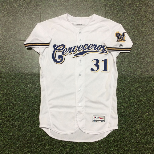 Photo of Carlos Subero 2019 Game-Used Cerveceros Jersey