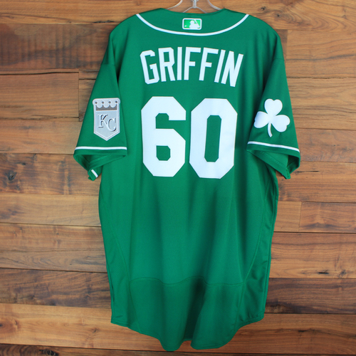 Photo of Team-Issued 2020 St. Patrick's Day Jersey: Foster Griffin #60 - Size 48