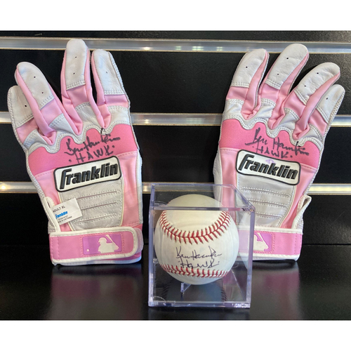 Photo of Hawk Harrelson Autographed Pink Golf Gloves and Autographed Baseball