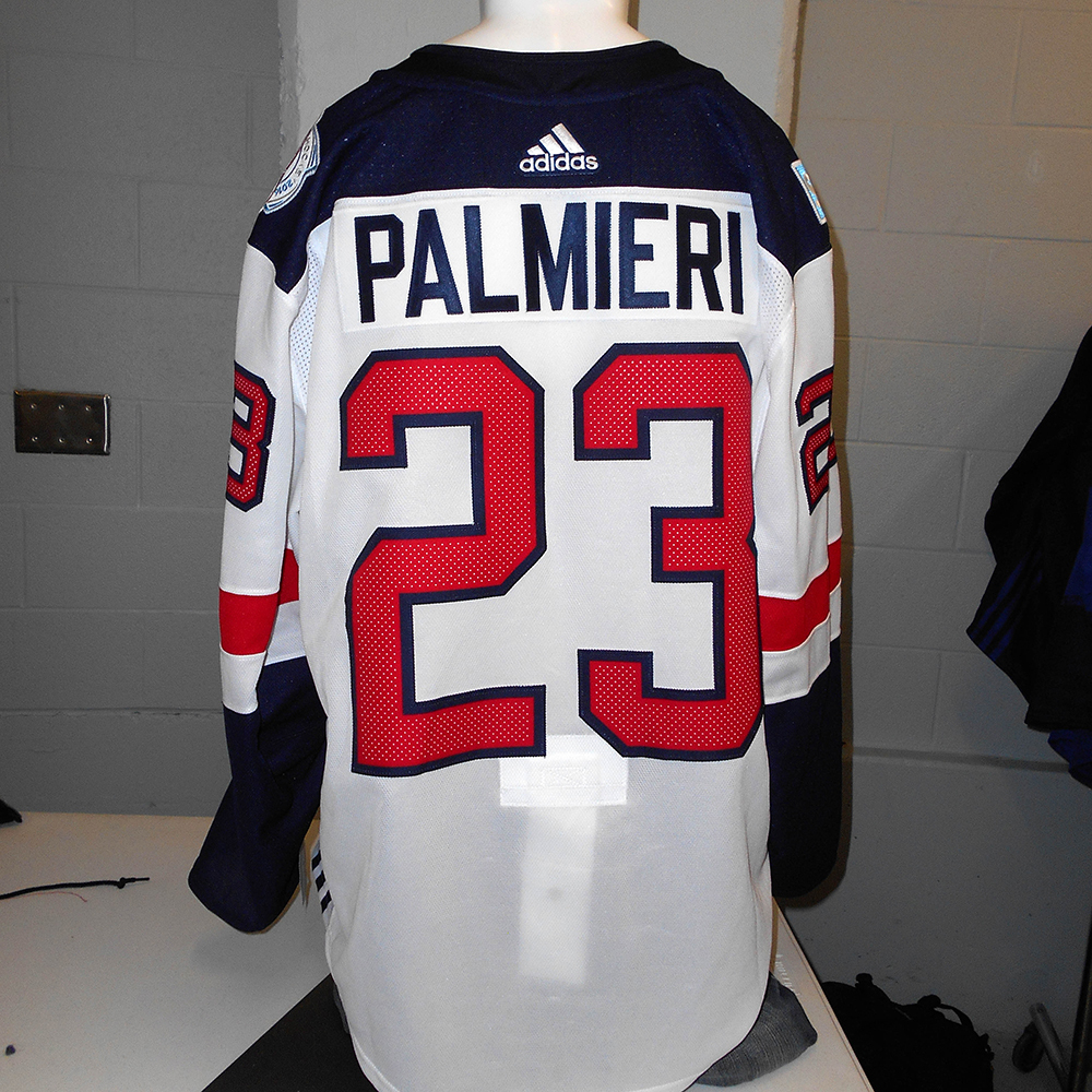 detailed look 49277 1d8fb Kyle Palmieri New Jersey Devils Game-Used Away 2016 World ...