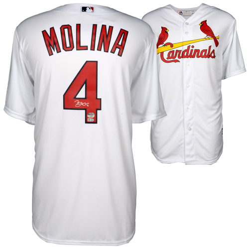 Photo of Yadier Molina St. Louis Cardinals Autographed White Replica Jersey