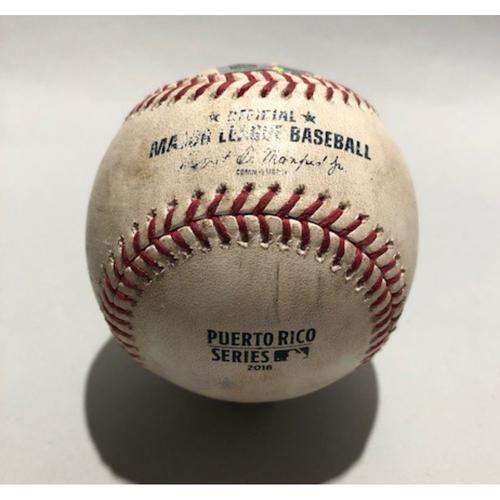 Photo of 2018 Puerto Rico Series: Pitcher - Matt Belisle, Batter -  Logan Morrison (Groundout) Batter - Eduardo Escobar (Single) Batter - Ryan LaMarre (Single) - 4/18/18