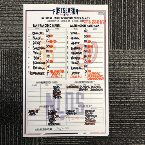Photo of San Francisco Giants - 2014 NLDS Game Used Line Up Card - San Francisco Giants vs. Washington Nationals - Game 3 of the Division Series - 10/6/2014