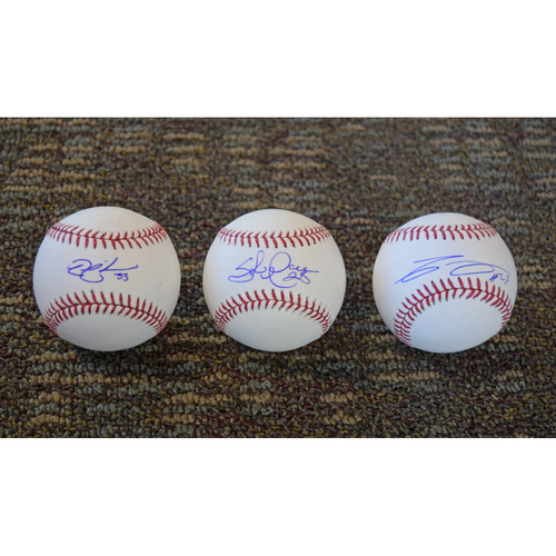 Photo of Nick Swisher, Shaun Marcum and Carlos Gomez Autographed Baseball Collection (Not MLB Authenticated)