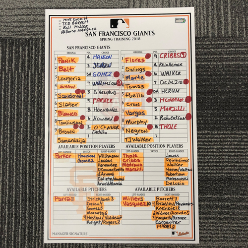 Photo of 2018 Spring Training Game-Used Line Up Card - 2/27/18 vs. Arizona Diamondbacks