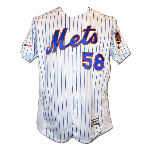 Photo of Phil Regan #58 - Game Used White Pinstripe Jersey - Mets vs. Braves - 9/28/19