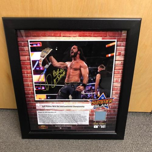 Photo of Seth Rollins SIGNED SummerSlam 2018 Gold Edition Ring Canvas Plaque (#1 of 1)