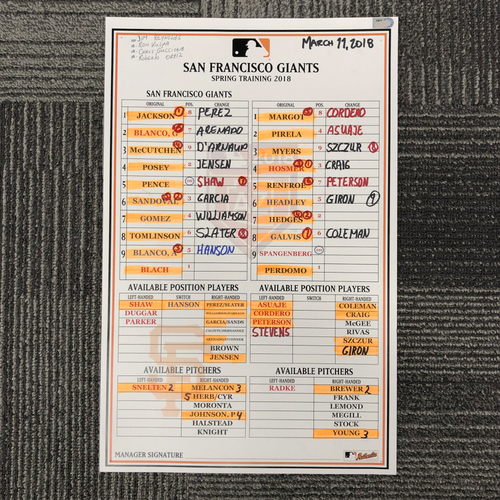Photo of 2018 Spring Training Team-Issued Line Up Card - 3/11/18 vs. San Diego Padres