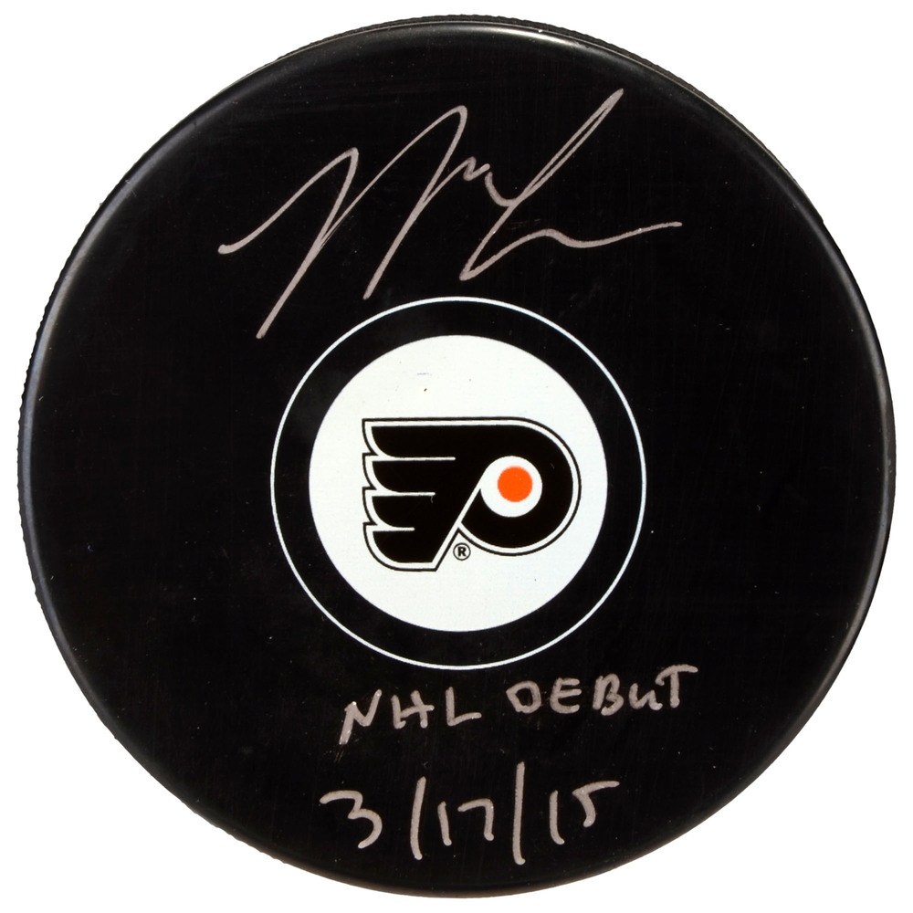 Nick Cousins Philadelphia Flyers Autographed Hockey Puck with NHL Debut 3/17/15 Inscription