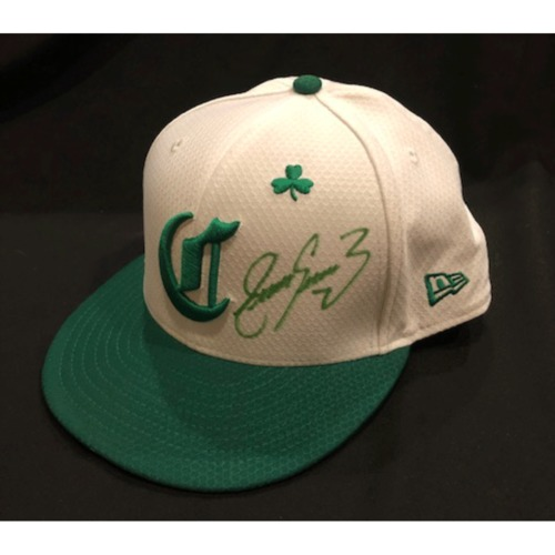 Photo of Eugenio Suarez -- Autographed & Game-Used Cap -- 2019 St. Patrick's Day
