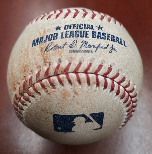 Photo of Authenticated Game Used Baseball - March 29, 2019 vs Tigers: Miguel Cabrera Walks against Matt Shoemaker (T4). 1st Managerial Win for Charlie Montoyo.