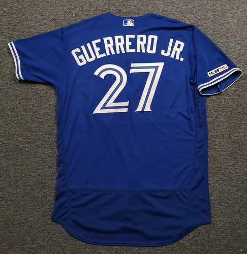 Photo of Authenticated Game Used Jersey: #27 Vladimir Guerrero Jr. (Sept 14, 19 vs NYY: 1-for-5). Size 48. Rookie Season.