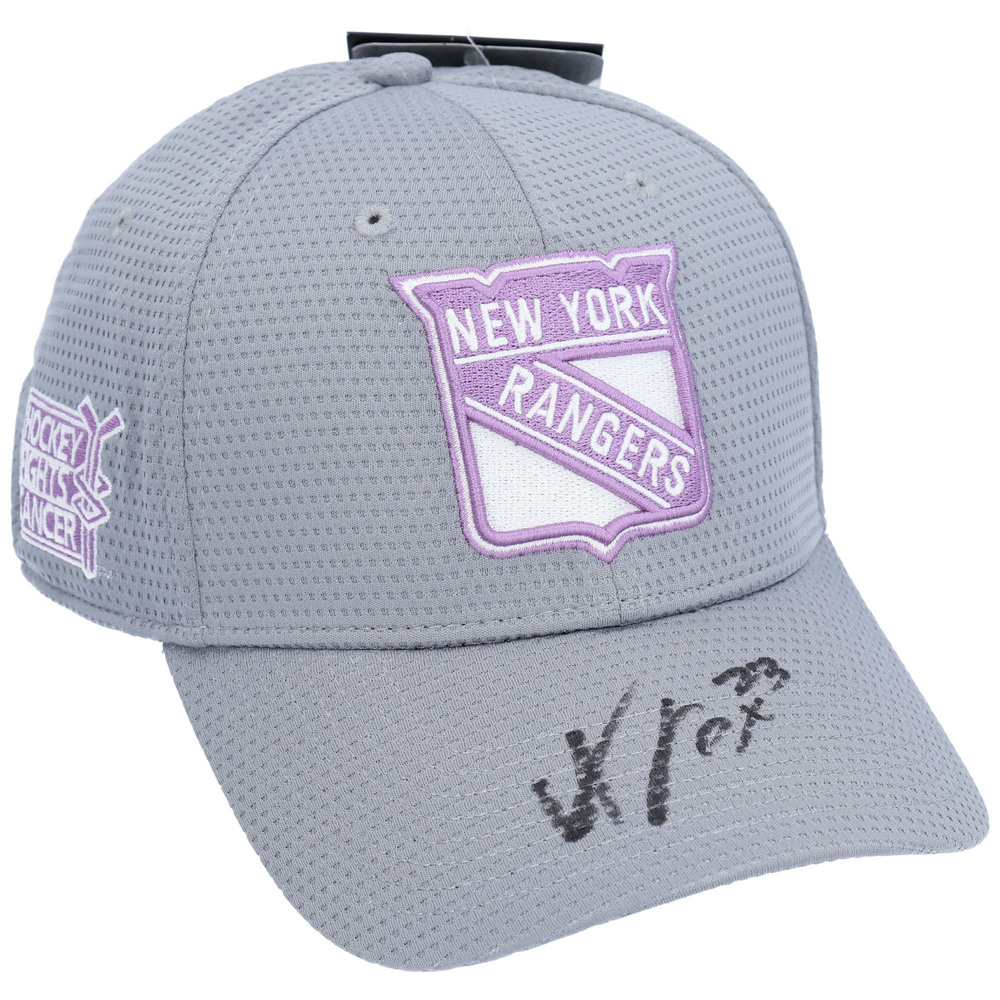 Adam Fox New York Rangers Autographed Hockey Fights Cancer Cap - NHL Auctions Exclusive