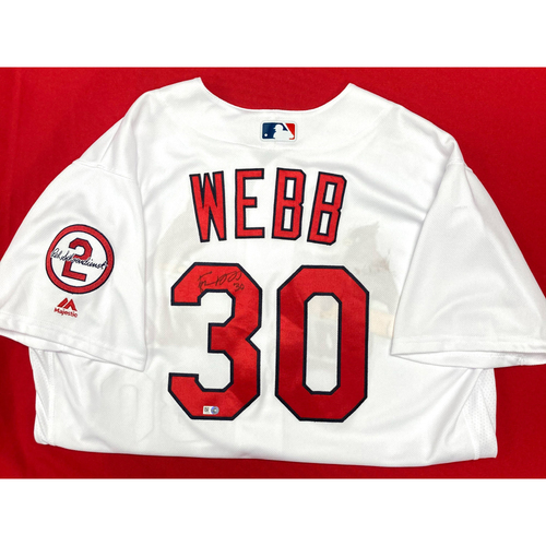 Photo of Tyler Webb Autographed Team Issued Home Jersey w/ Red Patch (Size 48)