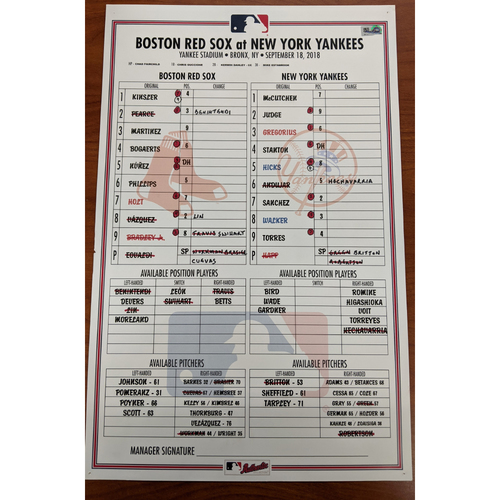 Photo of Red Sox at Yankees September 18, 2018 Game Used Lineup Card - Yankees Win 3 to 2