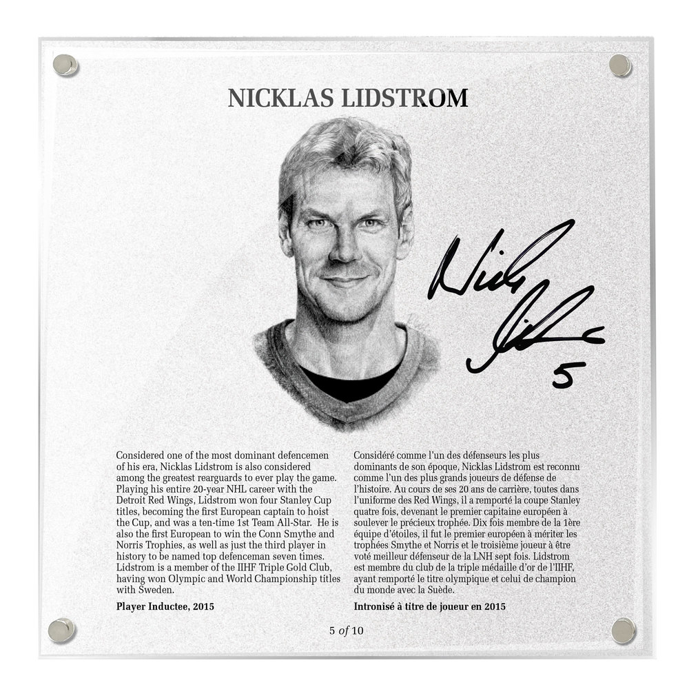 Nicklas Lidstrom Autographed Legends Line Honoured Member Plaque - Limited Edition 5/10