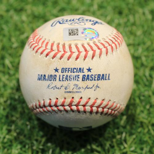 Photo of Game-Used Baseball: Austin Meadows 51st Career Double & 126th Career RBI (TB@KC 4/21/21)