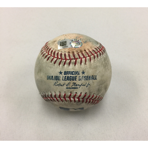 Photo of Twins at Red Sox June 28, 2017 Game-Used Ball