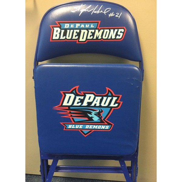 Photo of Stephen Howard Autographed DePaul Basketball Team Bench Chair