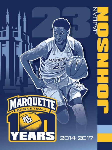 Photo of Jajuan Johnson Signed Marquette 100th Anniversary Banner
