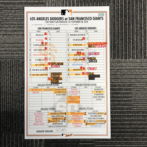 Photo of San Francisco Giants - 2018 Game Used Line Up Card - San Francisco Giants vs. Los Angeles Dodgers - 9/28/18