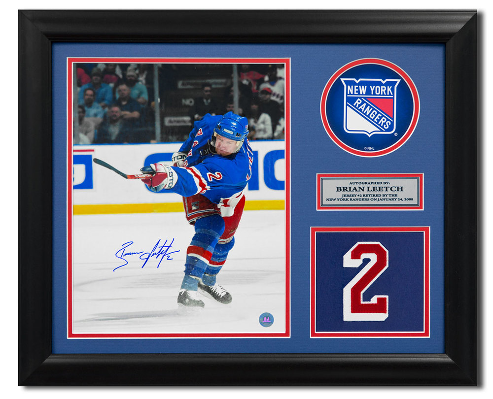 Brian Leetch New York Rangers Signed Retired Jersey Number 23x19 Frame
