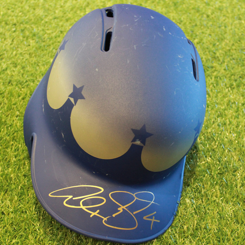 Photo of Game-Used and Autographed Turn Ahead the Clock Batting Helmet: Alex Gordon (Innings 4, 6 - Size 7 3/4 - KC @ SEA - 6/30/18)