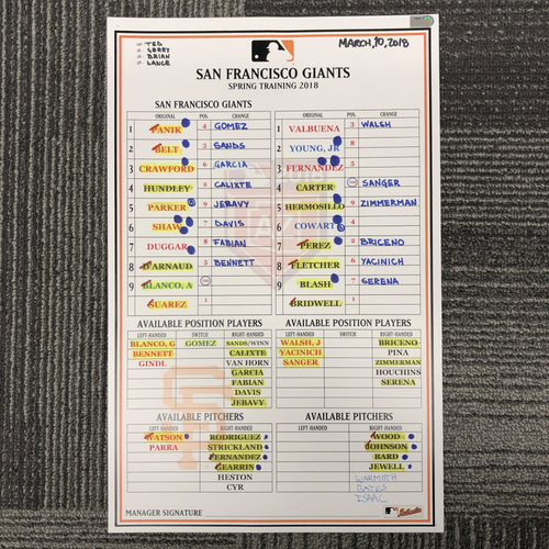 Photo of 2018 Spring Training Team-Issued Line Up Card - 3/10/18 vs. Los Angeles Angels