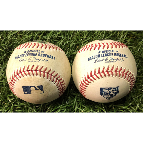 Game Used Baseballs: Mike Trout foul balls off Ryne Stanek (July 31, 2018) and Charlie Morton (June 15, 2019)