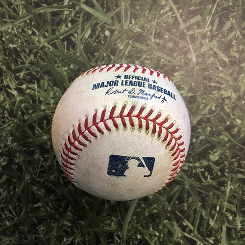 Photo of Game-Used Baseball LAD@MIL 05/02/21 - Alec Bettinger - Corey Seager: Single