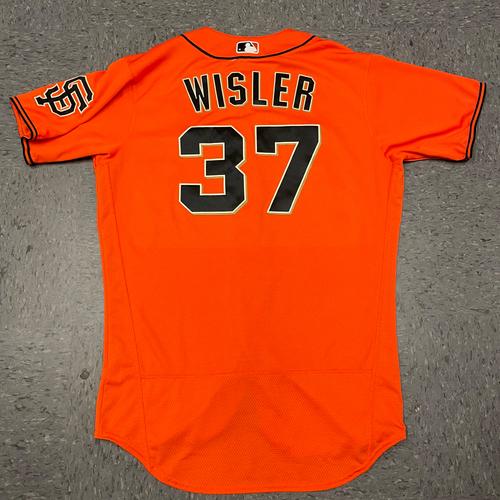 Photo of 2021 Game Used Orange Home Alt Jersey worn by #37 Matt Wisler on 4/23 vs. MIA - Size 46