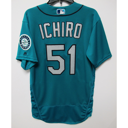 Photo of Seattle Mariners Ichiro Suzuki 2018 Team Issued Green Jersey