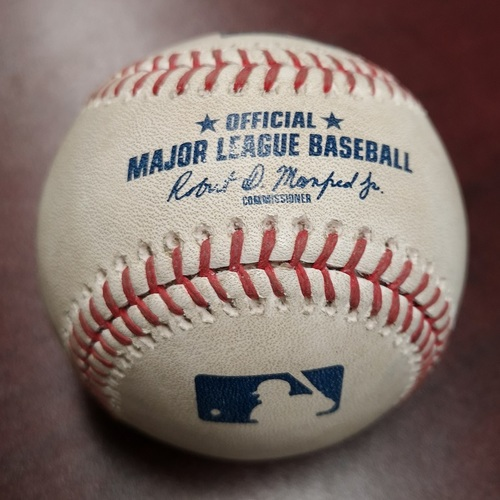 Photo of Authenticated Game Used Baseball - Ball by Jake Petricka to Ryon Healy (May 8, 2018). Top 7. James Paxton No Hitter Game. 2nd Ever by a Canadian.