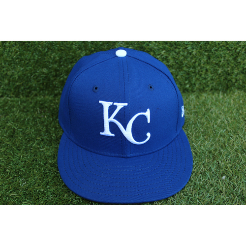 Photo of Game-Used 1969 Throwback Cap: Brad Keller (Size 7 1/4 - NYY @ KC - 5/19/18)