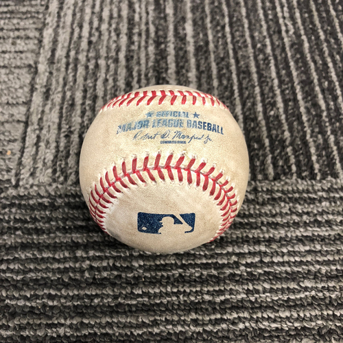 Photo of San Francisco Giants - 2017 Game Used Baseball from Cody Bellinger's MLB Debut & 1st Career MLB Hit on 4/25/17 - Hunter Strickland to Yasiel Puig - Walk on Ball 4. Also Adrian Gonzalez Flies Out to LF & Yasmani Grandal Hits a Foul Ball