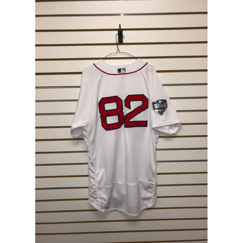 Photo of Tom Goodwin Game-Used October 23, 2018 World Series Game 1 Home Jersey
