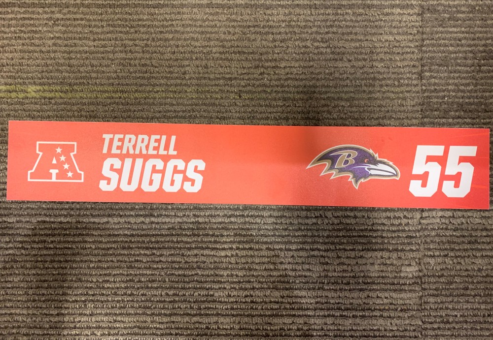 Ravens Terrell Suggs - 2018 Game Used Pro Bowl Locker Room Sign