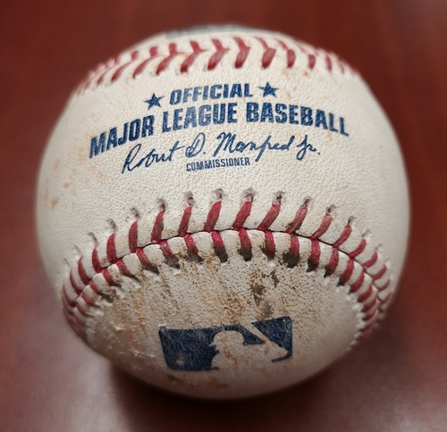 Photo of Authenticated Game Used Baseball - March 29, 2019 vs Tigers: Teoscar Hernandez RBI Single against Matt Boyd (B4). 1st Managerial Win for Charlie Montoyo.