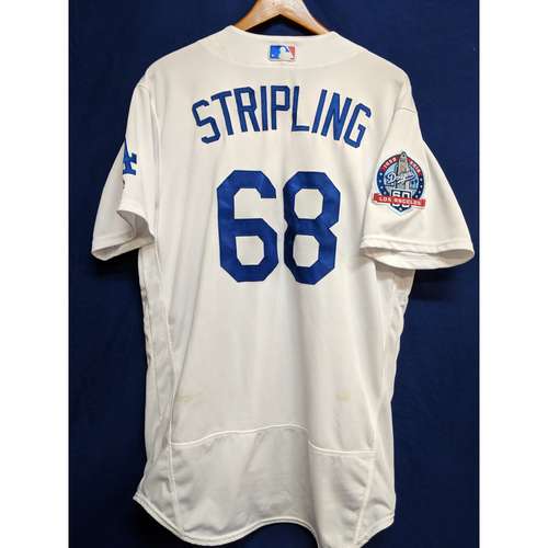 Ross Stripling Game-Used Home Jersey - Braves vs. Dodgers - 6/10/18