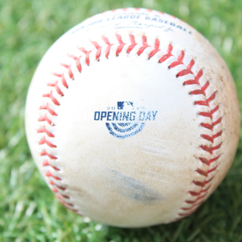 Game-Used Opening Day Baseball: Batter - McBroom, Pitcher - Marshall, Foul, Bottom 8 (7/31/20 CWS @ KC)