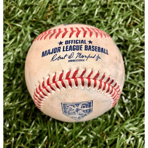 Photo of Game Used 20th Anniversary Baseball: Rafael Devers RBI single and Eduardo Nunez single off Jose Alvarado - March 30, 2018 v BOS