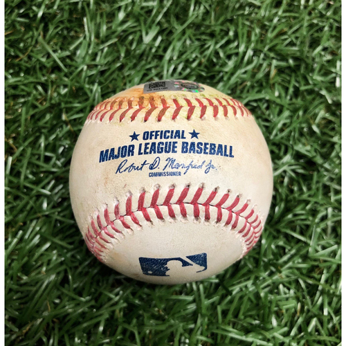 Photo of Spring Training Game Used Baseball: Tzu-Wei Lin single off Dietrich Enns - March 10, 2021 v MIN