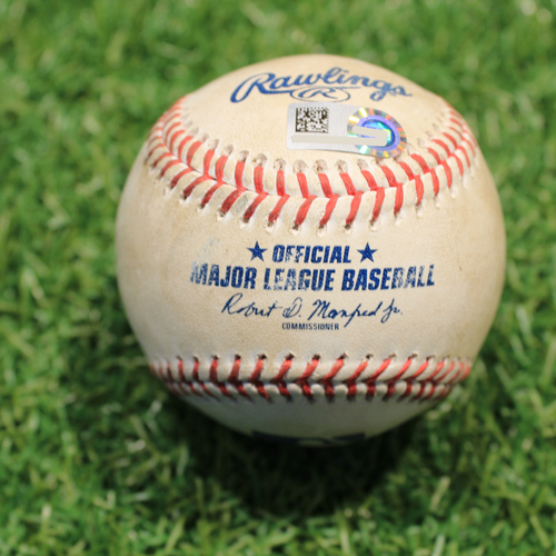 Photo of Game-Used Baseball: Jared Walsh 5th Career Hit By Pitch (LAA@KC 4/14/21)