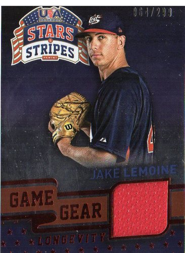 Photo of 2015 USA Baseball Stars and Stripes Game Gear Materials Longevity Ruby #44 Jake Lemoine/299