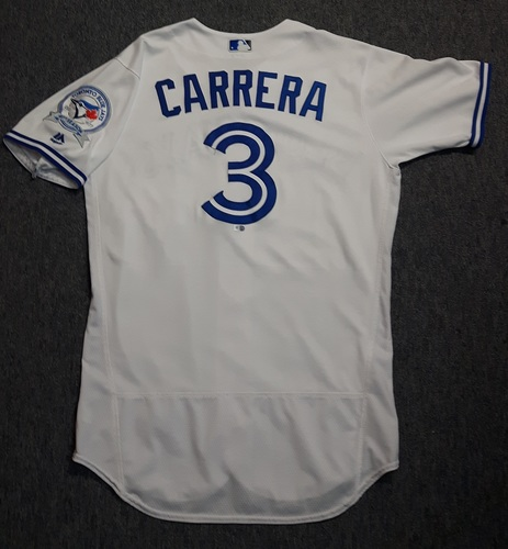 Photo of Authenticated Game Used Jersey - #3 Ezequiel Carrera (July 29, 2016). Carrera was a defensive replacement. Size 44